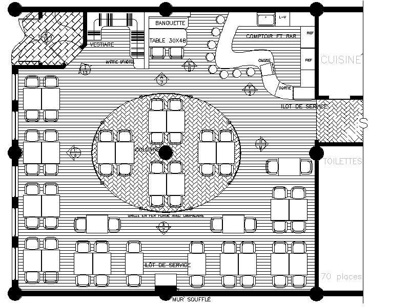 Plan d'aménagement d'un restaurant